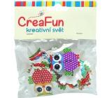 CreaFun Dřevěné knoflíčky Sova mix barev 3,2 cm 15 kusů