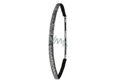 Ivybands Protiskluzová čelenka do vlasů černá super s flitry, unisex, 1 cm