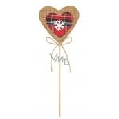 Srdce z juty zápich 9 cm + špejle
