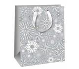 Ditipo Darčeková papierová taška Glitter šedá vločky 26,4 x 13,6 x 32,7 cm