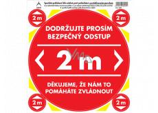 Arch Bezpečnostné a informačné piktogramy Polep na podlahu Bezpečný odstup 2 m, červený 21 x 23 cm