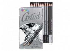 Colorino Artist kresliarske sada grafitových ceruziek a uhlov, guľaté, 10 ceruziek a mäkký a tvrdý uhoľ, kovový box