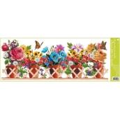 Room Decor Okenné fólie bez lepidla pruh truhlíkové kvety větináče 60 x 22,5 cm