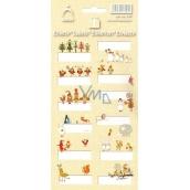 Arch Vianočné etikety samolepky Zvieratká žltý arch 12 etikiet
