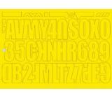 Arch Udělejte si reklamu sami žlutá samolepicí písmena a číslice 35 x 25 cm