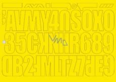 Arch Urobte si reklamu sami žltá samolepiace písmená a číslice 35 x 25 cm