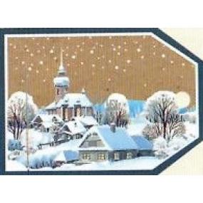 Nekupto Vianočné kartičky na darčeky Zasnežený kostol a domy 5,5 x 7,5 cm 6 kusov