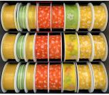 Nekupto Stuha látková oranžová biele bodky 3 mx 25 mm