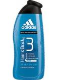 Adidas 3 After Sport sprchový gél na telo a vlasy pre mužov 400 ml