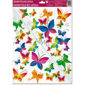 Room Decor Okenné fólie bez lepidla rohová pestrofarební motýle č.4. 42 x 30 cm