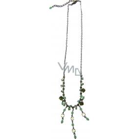 Bižutéria Náhrdelník bronzový so zelenými kamienkami 45 cm + náušnice 1 pár
