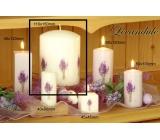 Lima Květina Levandule vonná svíčka bílá s obtiskem levandule válec 110 x 150 mm 1 kus