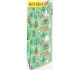 Nekupto Darčeková papierová taška na fľašu 33 x 10 x 9 cm Vianočný, stromčeky 1819 50 WLH