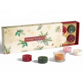 Yankee Candle Magical Christmas Morning Čajová sviečka 10 x 9,8 g + svietnik 1 kus, vianočné darčeková sada