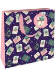Nekupto Darčeková papierová taška luxusné 23 x 23 cm Vianočné darčeky WLIM 1974
