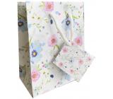 Nekupto Darčeková papierová taška 14 x 11 x 6,5 cm Biela s kvetmi 2001 02 KFS