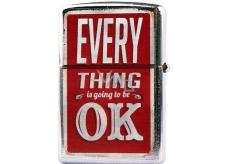Bohemia Retro zapalovač kovový benzínový s potiskem Everything Is Ok 5,5 x 3,5 x 1,2 cm