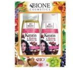 Bion Cosmetics Keratín & Kofeín Makadamiový olej regeneračný šampón na vlasy 260 ml + regeneračný kondicionér 260 ml, kozmetická sada