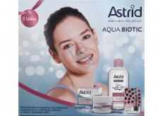 Astrid Aqua Biotic denný a nočný krém pre suchú a citlivú pleť 50 ml + 3v1 micelárna voda 400 ml + Trendy edícia Perleťový lesk tónovací balzam na pery, 4,8 g, kozmetická sada