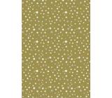 Ditipo Darčekový baliaci papier 70 x 200 cm Vianočné zlatý bielej a striebornej hviezdičky