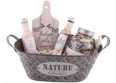 Bohemia Gifts Ruže plechová ošatka vlasový šampón 200 ml + sprchový gél 200 ml + soľ do kúpeľa 1200 ml + mydlo v plechovke 80 g + dekoračné doštičku, kozmetická sada