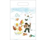 Anjel Igelitová taška 36 x 27 cm Mikuláš, čert, anjel, chalúpka, pes