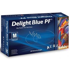 Aurelia Delight Blue PF Rukavice vinylové jednorazové bez púdru veľkosť M box 100 kusov