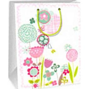 Ditipo Darčeková papierová taška 26,4 x 13,7 x 32,4 cm biela ružovej a zelenej kytky