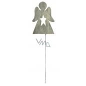 Anděl dřevěný šedý zápich 8 cm + drátek