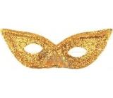 Škraboška s glitrami mačacie oči Zlatá vhodná pre dospelých 1 kus