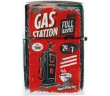 Bohemia Gifts & Cosmetics Retro zapaľovač kovový benzínový s potlačou Gas Station 5,5 x 3,5 x 1,2 cm