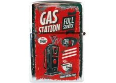 Bohemia Gifts & Cosmetics Retro zapalovač kovový benzínový s potiskem Gas Station 5,5 x 3,5 x 1,2 cm