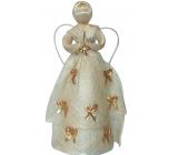 Anjel so zlatými mašličkami na sukni 30 cm