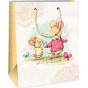 Ditipo Darčeková papierová taška 18 x 10 x 22,7 cm biela dve myšky