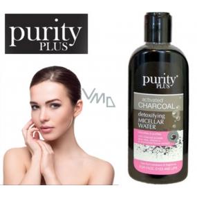 Purity Plus Charcoal Aktívne uhlie, Aloe Vera, vitamín E a extrakt kvetov rumančeka detoxikačné a čistiace micelárna voda na tvár, oči a pery 200 ml
