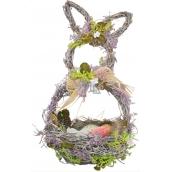 Košík prútený s levanduľou, tvar zajac 29 cm