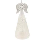 Anjel sklenený na postavenie biely 15 cm