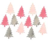 Stromček drevený ružovo-sivý 4 cm 12 kusov