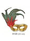 Škraboška plesová zlatá s čiernym perím na strane 30 cm vhodná pre dospelých