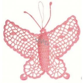 Háčkovaný motýľ veľký cca16 cm ružový