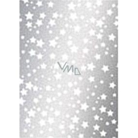 Ditipo Darčekový baliaci papier 70 x 500 cm Vianočné strieborný Biele hviezdičky 2033913