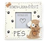 Nekupto Mazlíčci Dřevěná cedulka Domov láska štěstí - pes 14 x 14 cm