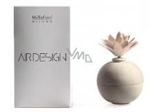 Millefiori Air Design Difuzér dřevěný s květinou nádobka pro vzlínání vůně pomocí porézní vrchní části bílá koule