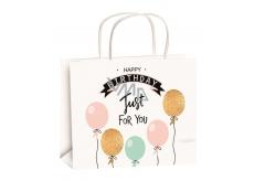 Anjel Darčeková papierová taška 23 x 18 x 10 cm narodeninová zlatá razba balóniky veľkosť M