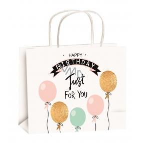 Taška narodeninová zlatá razba M balóniky 23x18x10cm