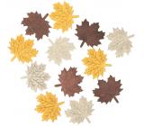 Listy drevené béžovo-žlto-hnedé 4 cm 12 kusov