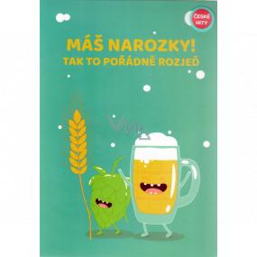 Albi Hracie prianie do obálky K narodeninám Prianie s pivom krčmy nalejvej Alkehol 14,8 x 21 cm