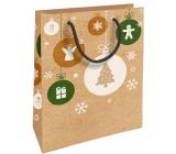 Nekupto Darčeková Kraftová taška 25 x 8 x 19 cm Vianočný anjel, vločky, stromček 593 WKHM