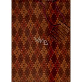 Nekupto Dárková papírová taška velká 36,5 x 28 x 10 cm Hnědá káro 1 kus 211 KCL
