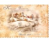 Nekupto Pohlednice Krásné Vánoce zoubky béžová, chaloupky a kostel
